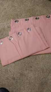 """Two Pink Curtain Panels - Each 52"""" W x 96"""" L"""