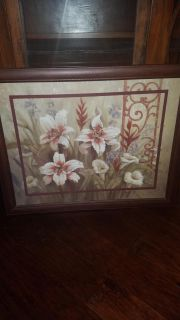 Picture with glass insert and mahogany frame