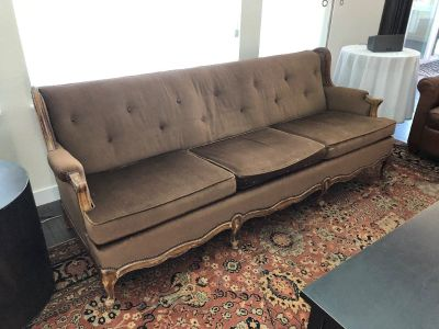 FREE- Antique brown velvet queen anne style sofa made with read wood