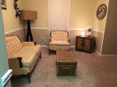 Antique sofa, chair, trunk, mirror, and telephone table see pics