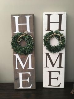 Cream or gray home signs