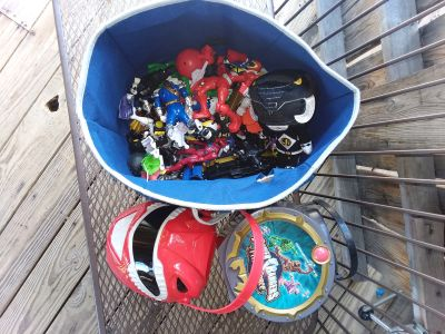 Bin full of power rangers and 2 buckets all for $10