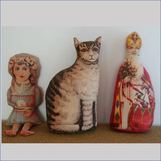 Victorian Replica Stuffed Cat, Santa, & Girl Decor