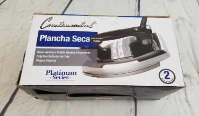 Continental Electric Polished Soleplate Classic Dry Iron, Black, 1000 Watt