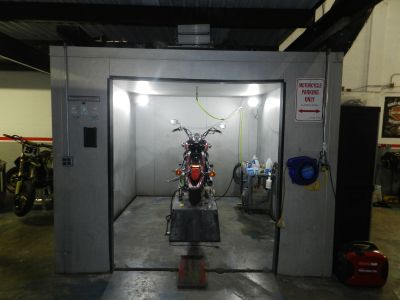 """MOTORCYCLE GARAGE - DETAILING ROOM - PAINT BOOTH - DYNO ROOM-Booth. Walk-In Freezer, Garage"