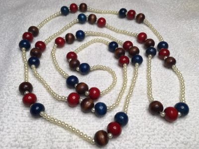 Vintage Necklace Long Blue Red Brown Wooden Beads Small White Pearl Beads Lightweight Ready to W...