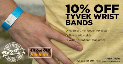 Avail 10% Off on Customized Tyvek Wristbands from PrintPapa