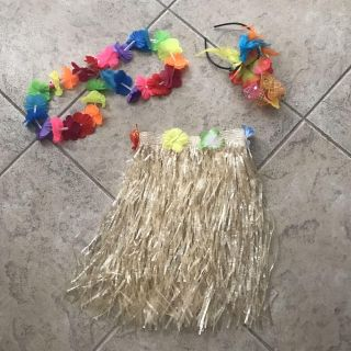 Fun Grass Skirt and Lei w/headband for Hawaiian Night theme at camp! Fits sizes kids through ladies 10/12. Only $5!