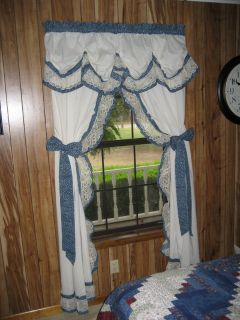 Country Blue Calico Curtains