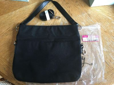 NEW Thirty One Gifts Suite Cross N Fold Purse - Black on Black Leopard Print - See Additional Pics
