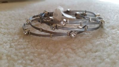 Bracelets - Silver and Crystal (Set of 5) - New