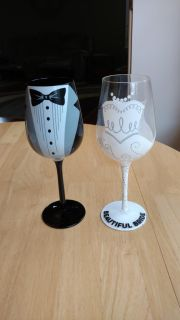 """Bride and groom glasses measure 9"""" tall"""