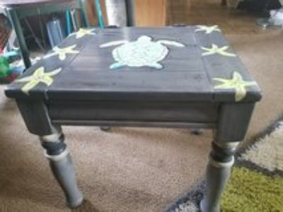 repurposed side table-sea turtle