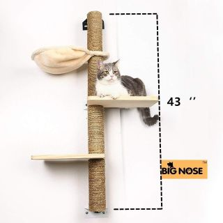 Mutli-Levels Climber Cat Tree with Solid Wood Steps and Sunny Seat Hammock