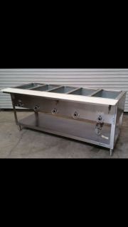 5-well Steam table w/Sneeze guard.