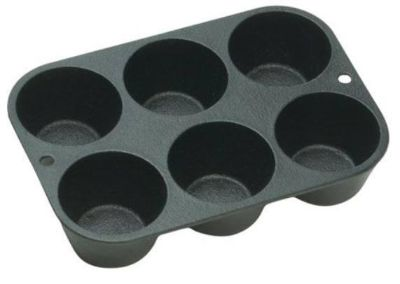 Lodge Muffin Pan, Seasoned Cast Iron, L5P3, with 6 impressions