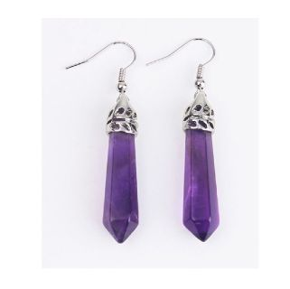 Amethyst Crystal Pillar Earrings