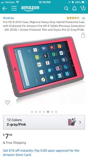 Case with stand for Amazon Fire HD 8 table color pink and gray $5 firm
