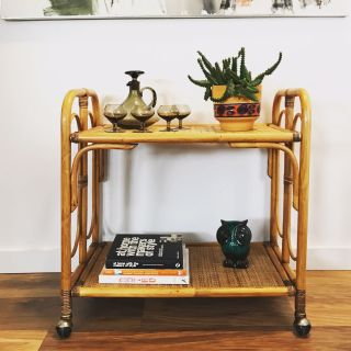 Mid century boho rattan and wicker cart