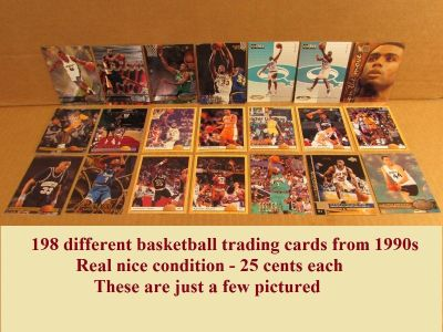 198 different basketball trading cards. 25 cents each