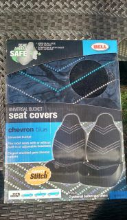 New in Package: Bell Automotive Universal Bucket Seat Covers Black W/studded Gem Chevron Blue Design ~ $25.