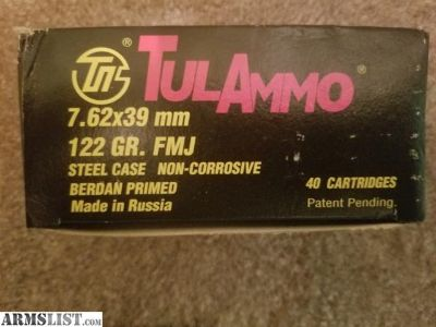 For Sale: Tul ammo 7.62x39mm 800 rounds