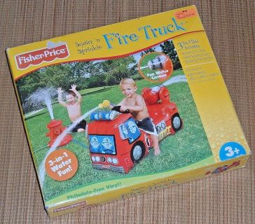 NEW 3-in-1 Fisher Price Inflatable Squirt Sprinkle Fire Truck Hose Cannon Hydrant