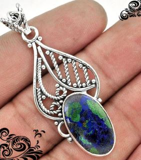 New - Natural Blue Crysocolla and Green Malachite 925 Sterling Silver Pendant (Includes a chain)