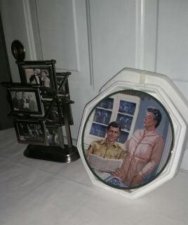 Andy of Mayberry revolving card holder wh 12 cards. Andy & Aunt Bee Plate 8 in diameter wh certificate, new in Syrofoam.