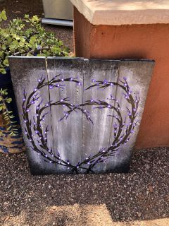 Cute hand painted hearts on wood