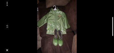 Toddler boy rain coat with matching boots