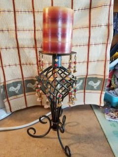 """Candle Holder {w/Dangling Gem Strings Hanging From Base} & Matching Striped Unburned Candle* {w/burnt-orange colors within}* {12""""} [buff]"""