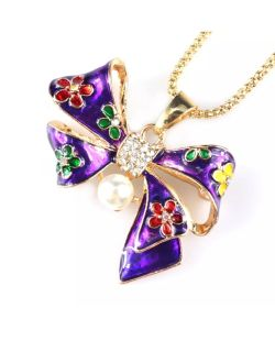 Pearl crystal Bow knot Necklace