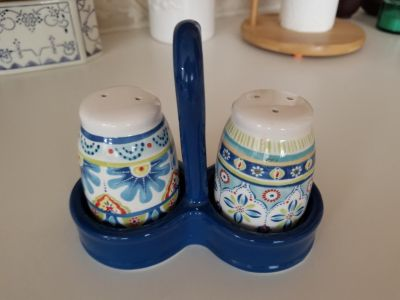 NEW Salt and Pepper Shakers with Holder
