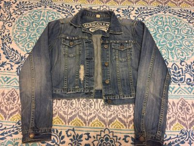 Junior Size Small American Eagle Cropped Jean Jacket