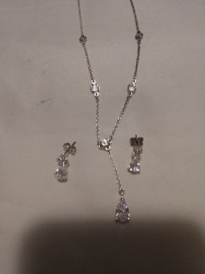 Tear drop crystal necklace and earrings