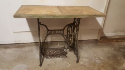 Antique Singer Iron Sewing Base Table