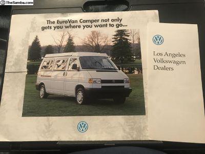 1995 VW Eurovan Camper Sales Brochure