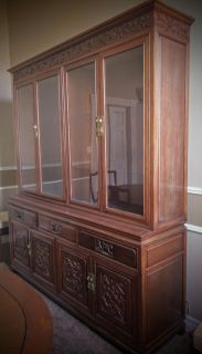 Rosewood, Vintage, China Cabinet with Hand-Carved Bird and Flower Design