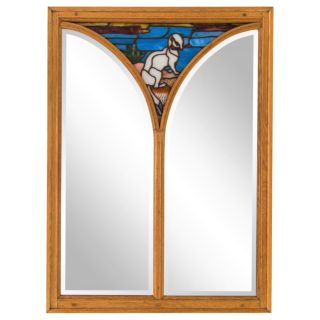 Large Antique Oak Mirror w/ Stained Glass Ermine