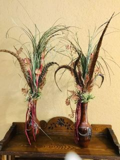 Matching silk and pheasant feather vases