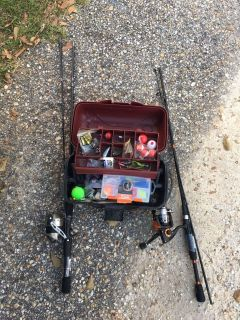 2 fishing rods and reels with tackle box full of tackle