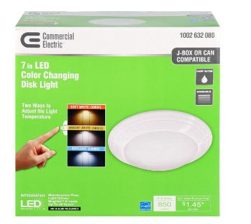 Commercial Electric - 4/5/6 in. J-Box 12-Watt Dimmable White Integrated LED Energy Star Recessed Trim Disk Light with Color Changing CCT