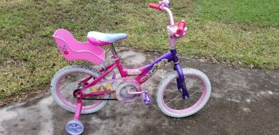 16 inch Girl's Princess Bike with Doll Holder