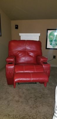 2 red recliner chairs, price for both.