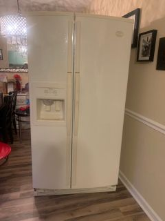 Whirlpool side by side refrigerator cream color