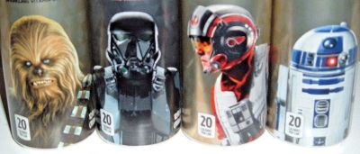 4 Unopened Star Wars Space Punch Cans Chewbacca #4 R2D2 #8 Death Troopper II #19 Poe Dameron #20
