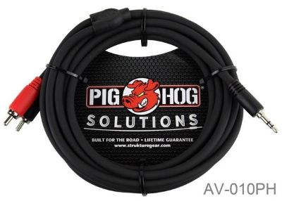10ft Pig-Hog Stereo Breakout Cable, 3.5mm to Dual RCA