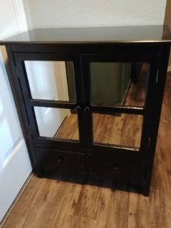 Black Mirrored two drawer cabinet