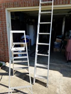 Two aluminum ladders